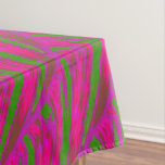 Bright Pink Green Color Swish Abstract Tablecloth