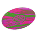 Bright Pink Green Color Swish Dinner Plate