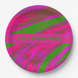 Bright Pink Green Color Swish Paper Plate