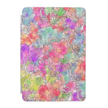 Bright Pink Red Watercolor Floral Illustration iPad Mini Cover