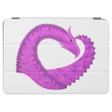 Bright purple heart dragon on white iPad air cover