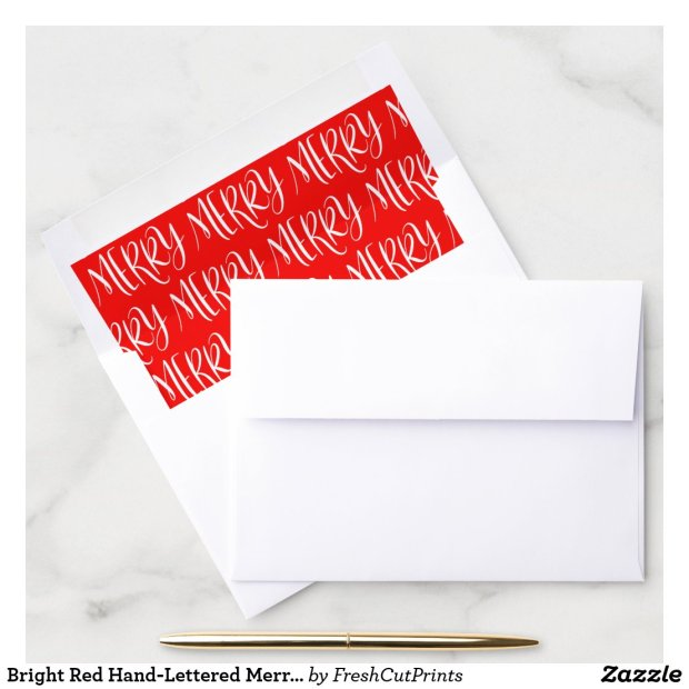 Bright Red Hand-Lettered Merry Patterned Envelope Liner