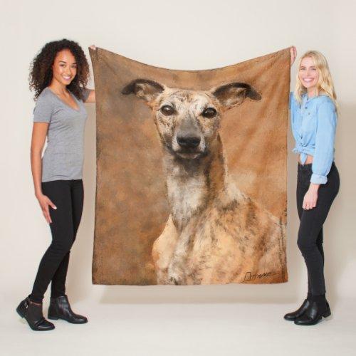 Brindle Whippet Dog Fleece Blanket