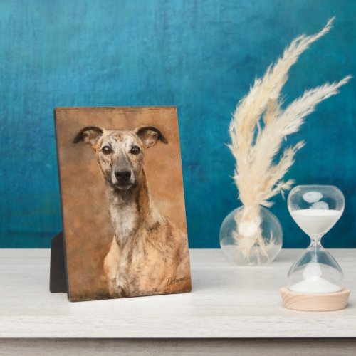 Brindle Whippet Dog Plaque