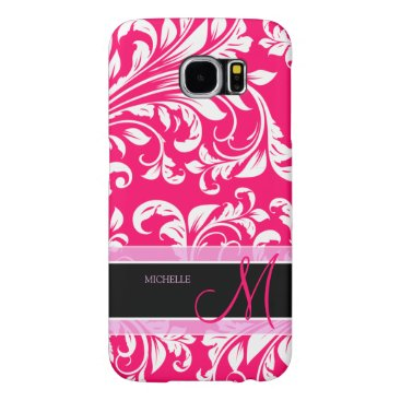 Broadway Pink and white floral damask w/ monogram Samsung Galaxy S6 Case