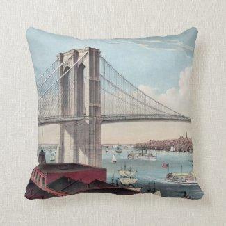 Brooklyn Bridge Painting Pillow