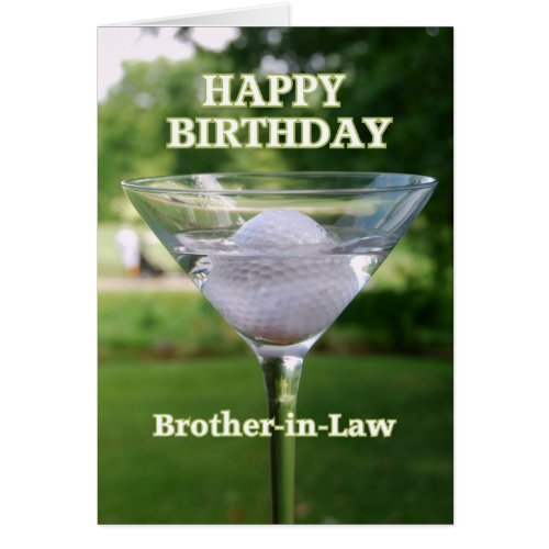 Brother-in-Law Martini Golf Ball Birthday Greeting Card