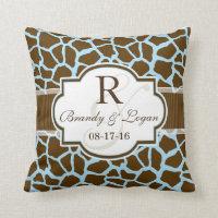 Brown, Blue Giraffe Animal Print Wedding Throw Pillow