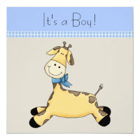 Brown Blue Giraffe Baby Boy Shower Card