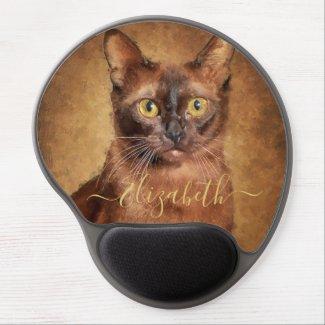 Brown Burmese Cat Portrait Personalized Gel Mouse Pad