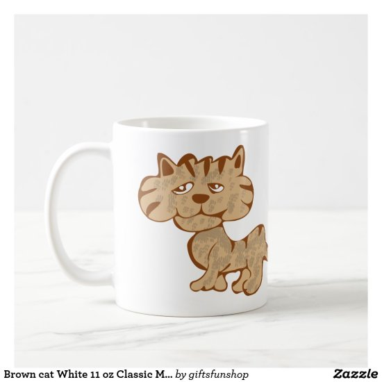 Brown cat White 11 oz Classic Mug
