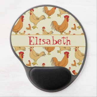 Brown Chicken Design Personalise Gel Mouse Pad