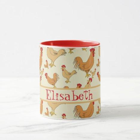 Brown Chicken Design Personalise Mug