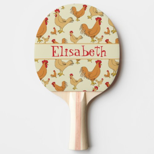 Brown Chicken Design Personalise Ping Pong Paddle