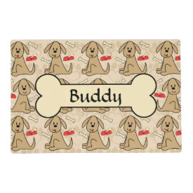 Brown Puppy Dog Graphic Design Personalize Laminated Place Mat