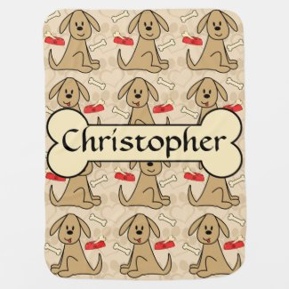 Brown Puppy Dog Graphic Design Personalize Baby Blanket