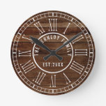 Brown Reclaimed Wood White Roman Numeral  Family Round Clock