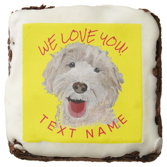 Brownies Cute Labradoodle Dog & Text Support