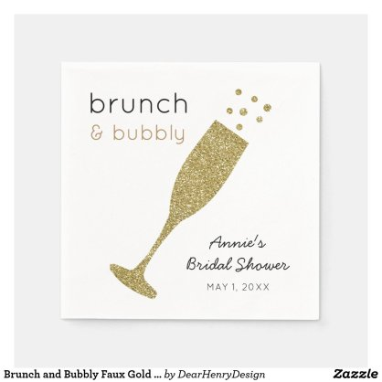 Brunch and Bubbly Faux Gold Glitter Drink Napkins