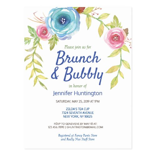 Brunch & Bubbly Bridal Shower Floral Invitation Postcard