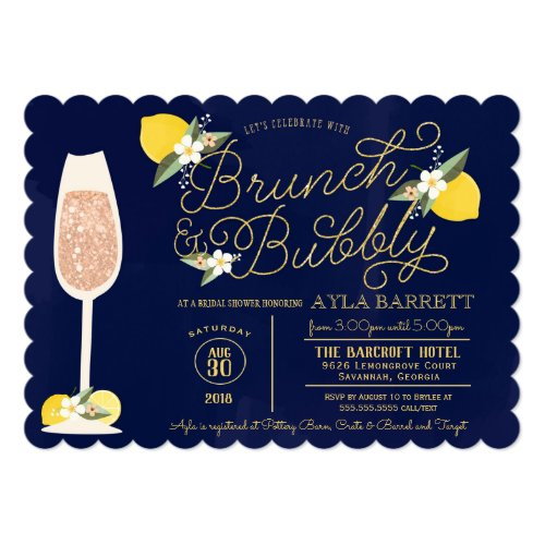 Brunch & Bubbly Lemon Gold Navy Blue Bridal Shower Card
