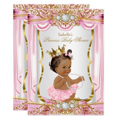 Princess Baby Shower Pink Silk Gold invite