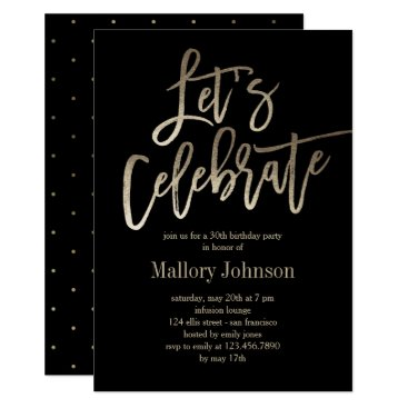 Brushed Glimmer Let's Celebrate Party Invitation