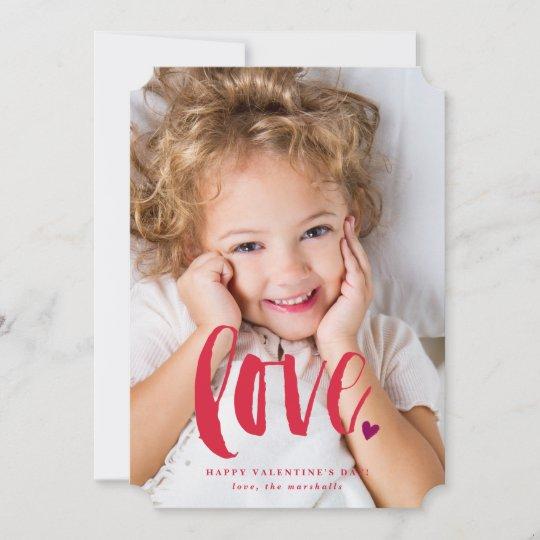 Brushy Script Love Photo Valentines Day Card