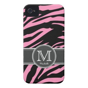 Bubblegum Pink & Black Zebra stripes iPhone 4 Case