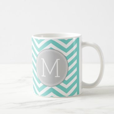Bubblegum Pink Chevron Pattern with monogram Coffee Mug