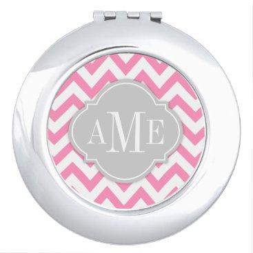 Bubblegum Pink Chevron with Monogram Makeup Mirror