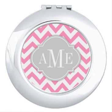 Bubblegum Pink Chevron with Monogram Makeup Mirror