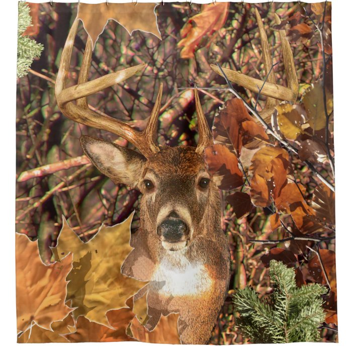 buck head in camouflage white tail deer shower curtain zazzle com