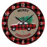 Buffalo Plaid Christmas Car Large Clock