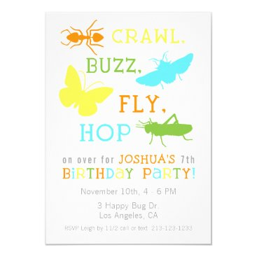 Bug Insect Birthday Party Invitation - Boy