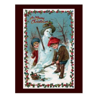 """Building the Snowman"" Vintage Post Cards"