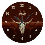 Bull Skull Brown Country Rustic Western Monogram Large Clock