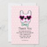 ❤️ Cool Cute Bulldog Birthday Thank You Card
