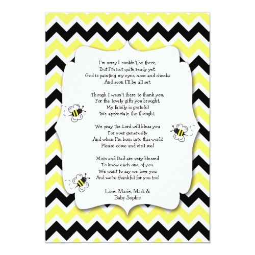 Bumble Bee Baby Shower Thank You Note with poem Invitation