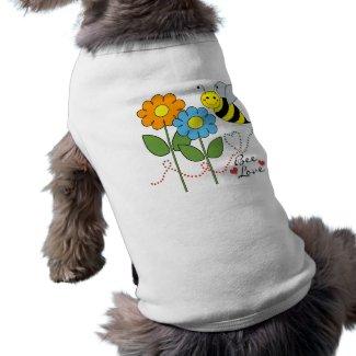 Bumble Bee With Flowers Bee Love Doggie Tee