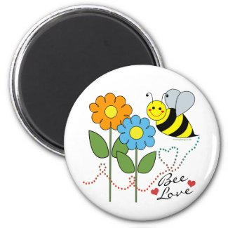 Bumble Bee With Flowers Bee Love Fridge Magnets