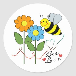 Bumble Bee With Flowers Bee Love Round Sticker