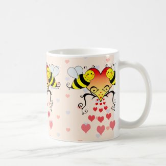 Bumble Bees With Hearts Design Mugs