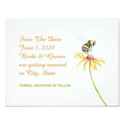 Bumblebee Daisy Watercolor Save The Date Invitation
