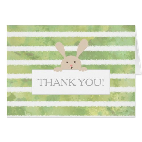 Bunny Green Stripe Baby Shower Thank You