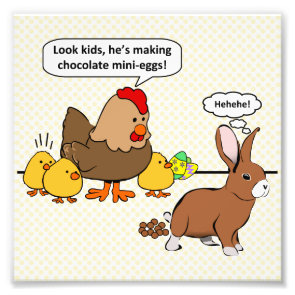 Bunny makes chocolate poop funny cartoon art photo
