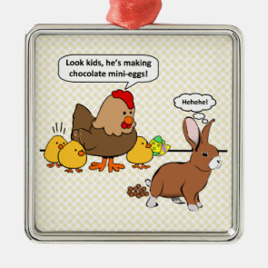 Bunny makes chocolate poop funny cartoon christmas ornament