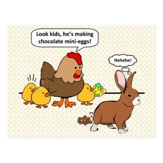 Bunny makes chocolate poop funny cartoon postcard