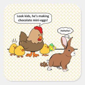 Bunny makes chocolate poop funny cartoon sticker