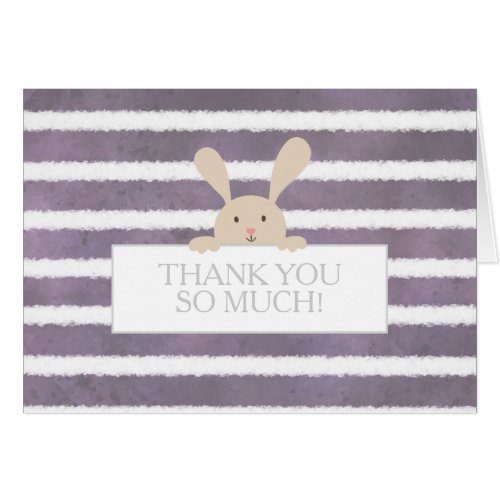 Bunny Purple Stripe Baby Shower Thank You